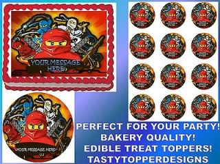 Ninjas Banner Party Theme Edible Cake Topper Image Cupcakes ALL SIZES