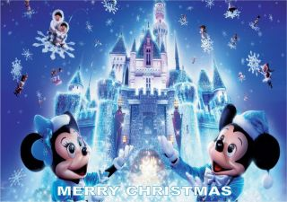 CHRISTMAS DISNEY CASTLE A4 ICING BIRTHDAY CAKE TOPPERS