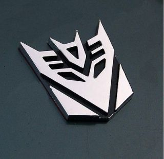 Silver 3D Metallic Transformer Decepticon Auto Car 3M Sticker Decals