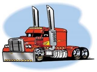 Big Rig Semi Truck Freight Hauler Cartoon T shirt