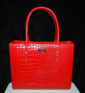 Kate Spade Quinn Carlsbad red croc leather purse handbag tote