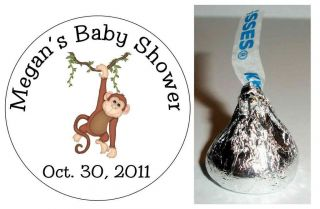 216 MONKEY JUNGLE SAFARI BABY SHOWER FAVORS HERSHEY KISS LABELS