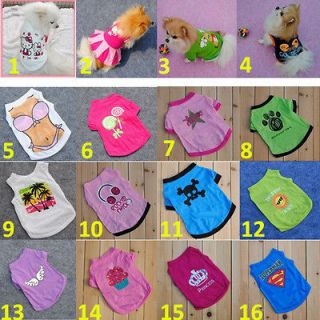 NEW CUTE PUPPY PET DOG CLOTHES TSHIRT SHIRTS T SHIRT DRESS VEST FREE