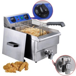 Commercial Electric 10L Deep Fryer w/ Timer and Drain Stainless Steel