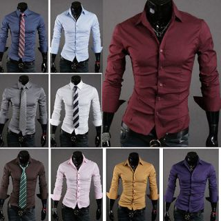 New Mens Fashion Luxury Casual Slim Fit Stylish Dress Shirts 5 Colors
