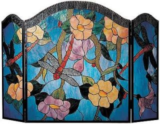 DALE TIFFANY DRAGONFLY FIREPLACE SCREEN, HAND ROLLED ART GLASS, BLUE