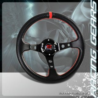 Red Stitching Carbon Fiber Style Deep Dish PVC Leather Steering Wheel