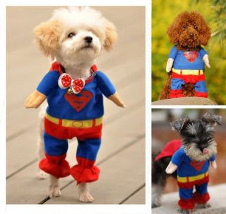 Pet Cat Dog Puppy Cotton Clothes Costumes Superman Suit size XS/S/M/L