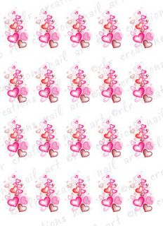 20 Nail Decals VALENTINE HEART DOODLES Water Slide Nail Art Decals