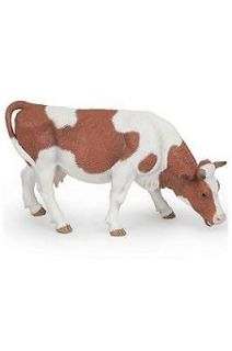 Papo Grazing Simmental Cow Farm Barn Animal Toy Figure Pretend Play