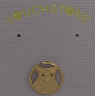 Staffordshire Bull Terrier Jewelry Gold Pin by Touchstone