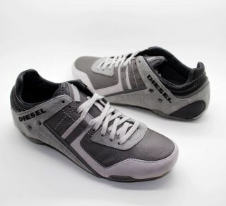 DIESEL Brand Mens Korbin Tracker II Grey White Casual Fashion Shoes