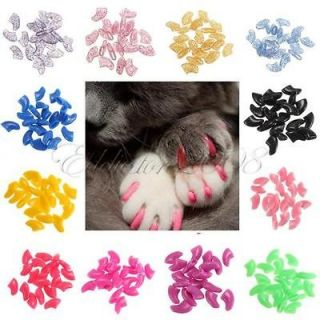 20pcs Soft Cat Pet Nail Caps Claw Control Paws off + Adhesive Glue