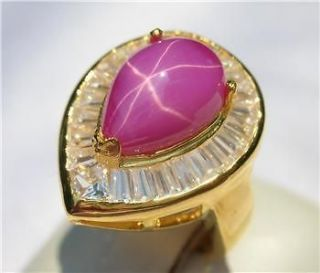 18k 14k gf 6 Rays Pink Star Sapphire Stone 10 cts Pear Shape Ring