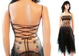 Black Formal Gown Jrs XS Lace Illusion Tulle Netting Open Corset Back