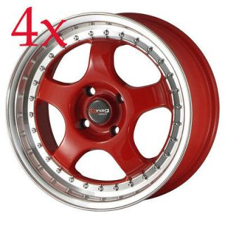 Drag Wheels DR 46 15x7 4x100 Red Rims 240sx miata crx del sol sentra