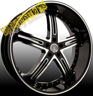 VERSANTE RIMS WHEELS TIRES VW226 BLACK 24X9 5 5X115 CHRYSLER 300 2007
