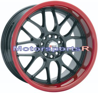 Black Red Lip Deep Dish Wheels Rims Staggered 04 11 Mazda RX8 93 RX7