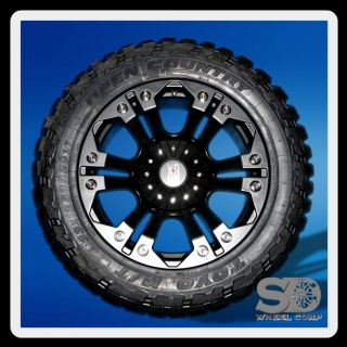 XD MONSTER BLACK RIMS W/ 33X12.50X20 TOYO OPEN COUNTRY MT TIRES WHEELS