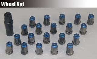 20 x 32mm Heptagon Wheel Rim Lug Lock Nuts M12 x P1 5 Blue CTR ITR S2K