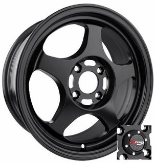 15 Drag DR23 Black Rims Wheels 15x6 5 40 4x100 Civic Fit Integra Miata