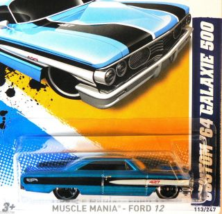 Hot Wheels Muscle Mania  FORD 12   Custom 64 Galaxie 500 ~ Blue ~ M