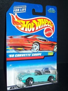 1998 Hot Wheels 58 Corvette Coupe Collector 780 Mint on Card