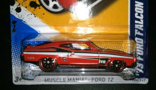 Hot Wheels 2012 Super Custom 73 Ford Falcon XB Red w Real Riders