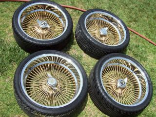 20 DAYTON TRUE SPOKE WIRE GOLD WHEELS TIRES DUB DONK REGAL FORD BUICK