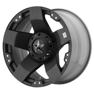 Rockstar XD775 5 6 8 Lug Black Wheels Rims 4 New FREE Caps Lugs Stems