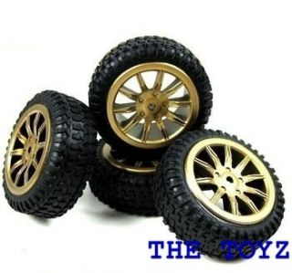 Losi Micro 1 24 Rally Car Gold Rim Wheel Tire Set LOSB1586