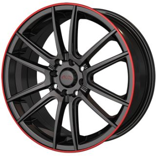 17x7 Black Red Wheel Akita AK77 5x105 5x112
