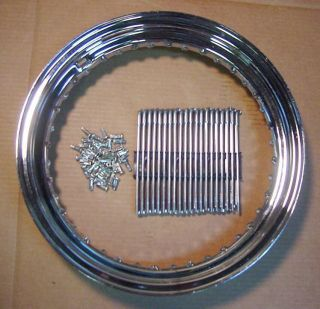 16 Chrome Wheel Rim Zinc Spoke Set 4 Harley Knucklehead Panhead