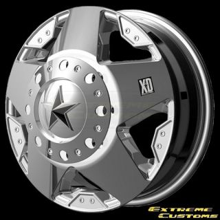 Series XD775 Rockstar Dually Chrome 8 Lug Wheels Rims Free Lugs