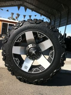 20 Silver Rims Tires 8x165 Hummer Chevy Dodge 35 12 50 20 Nitto Mud