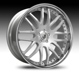 Silver with Chrome Lip Wheel Set Staggered Rims for 5LUG