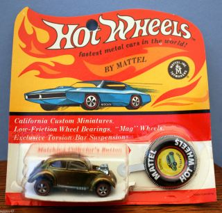 1968 Mattel Hot Wheels Redline Olive Custom Volkswagen Blister Pack