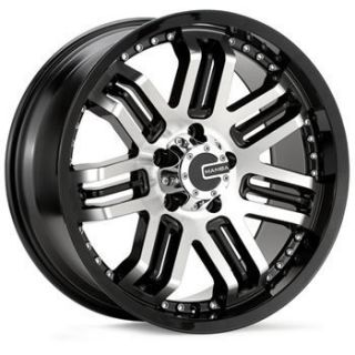 17x8 Mamba M3 Black and Machined 5x5 Wheels Rims Jeep Wrangler
