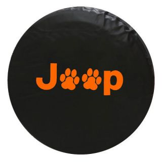 Jeep Spare Tire Cover Paw Print ( 29.5 in   32.5 in. tire)   Orange
