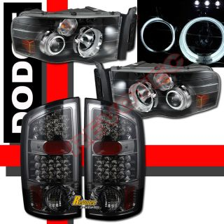 2002 2005 Dodge RAM CCFL Halo Rims LED Projector Headlights LED Tail