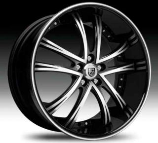 55 Wheel Set 26x10 Black Machined with Black Lip Rims rwd 5LUG