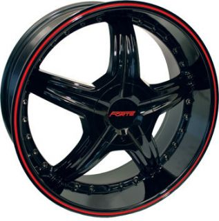 Redrum Black with Red Stripe Mustang Charger G6 Wheels Rims
