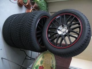 wheels with red stripe fits Subaru STi Nissan etc rims only no tires