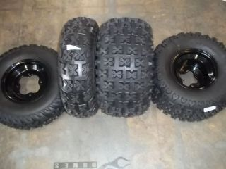 LTZ400 LTZ 400 FRONT REAR BLACK .190 ALUMINUM WHEELS TIRES 21X7 10