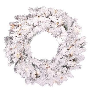Pre Lit Flocked Alaskan Wreath   30