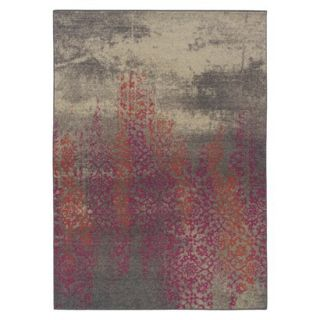 Climbing Floral Area Rug   Gray/Pink (53x76)