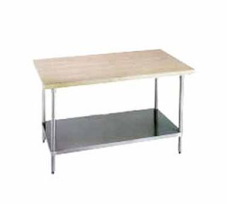 Advance Tabco 48 Work Table   1 3/4 Wood Top, Stainless Shelf, 24 W