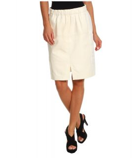 Halston Heritage Leather Combo Skirt with Front Slit Detail Womens Skirt (Beige)