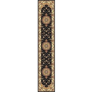 Lyndhurst Collection Traditional Black/ Ivory Runner (2 3 X 22)