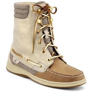 Sperry Top Sider Womens Hikerfish Linen Sparkle Suede Boots   9531401